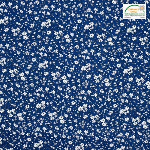 Coton petites fleurs bleues et blanches