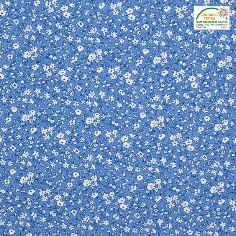 Coton petite fleur bleu clair et blanc