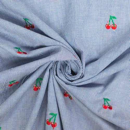 Coton rayé broderies cerises
