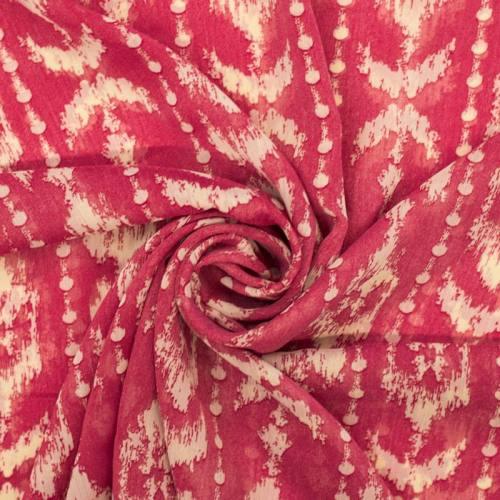 Mousseline rose motif Micronésie écru