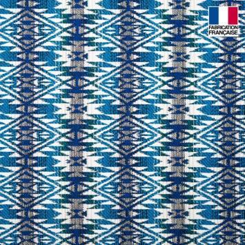 Jacquard écru motif Aztec azur