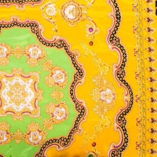 Satin imprimé foulard jaune et vert
