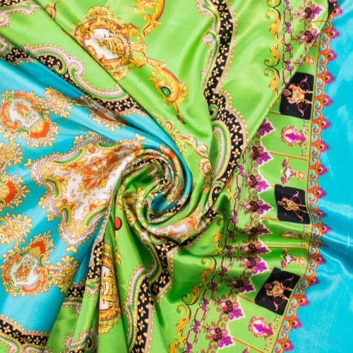 Satin imprimé foulard vert et bleu