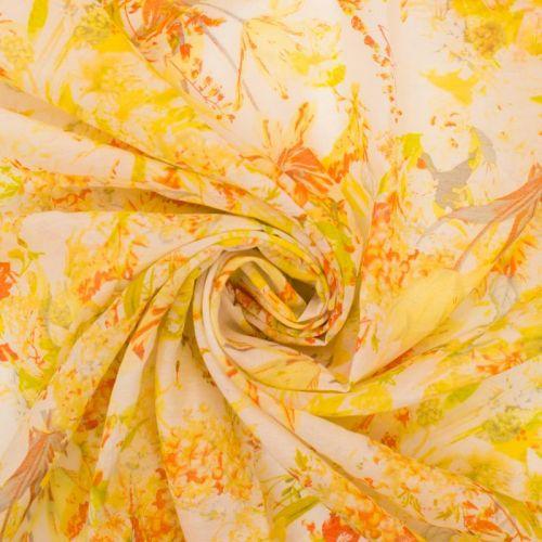 Voile polyester imprimé fleur jaune