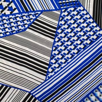 Microfibre imprimée géométrique bleu