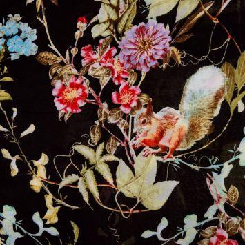 Viscose imprimée fleur, feuille et écureuil