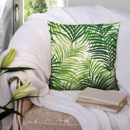 Toile de lin motif feuillage vert