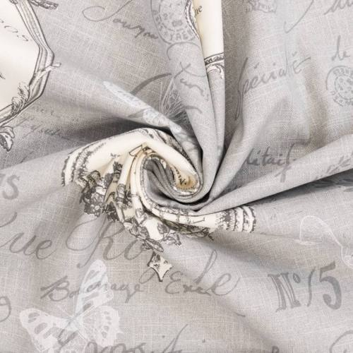 Coton bachette gris motif romantique 19 ème siècle grande largeur