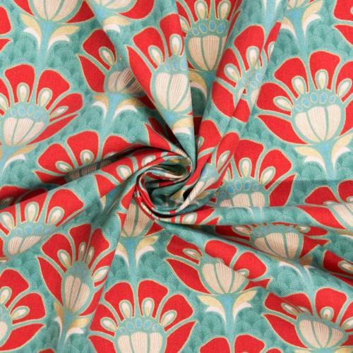 Coton bachette motif art déco doré, rouge et vert