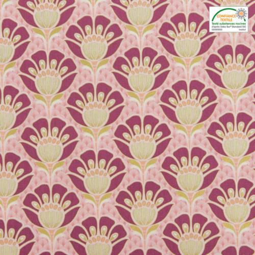Coton bachette motif art déco doré, violet et rose