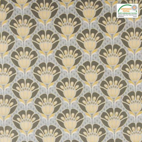 Coton bachette motif art déco doré, gris foncé et gris clair