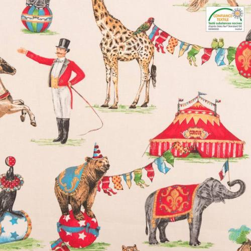 Coton bachette beige motif cirque