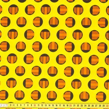Wax - Tissu africain jaune rond orange 219