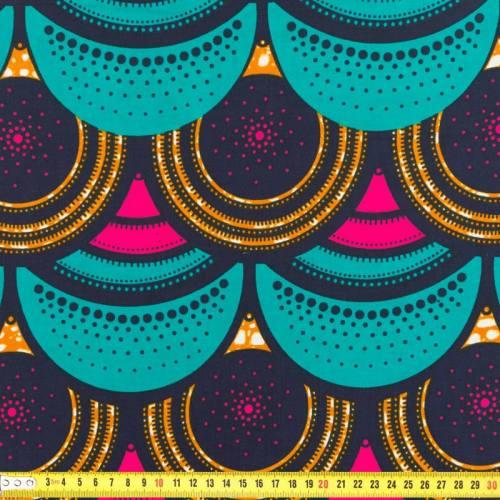 Wax - Tissu africain bleu canard et rose 210