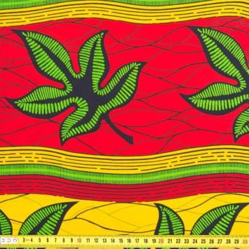 Wax - Tissu africain feuille verte 216