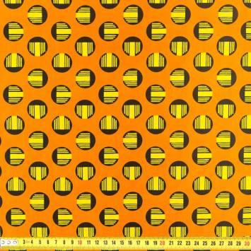 Wax - Tissu africain orange spirale jaune 221
