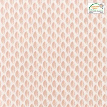 Popeline de coton blanche motif fougère vieux rose