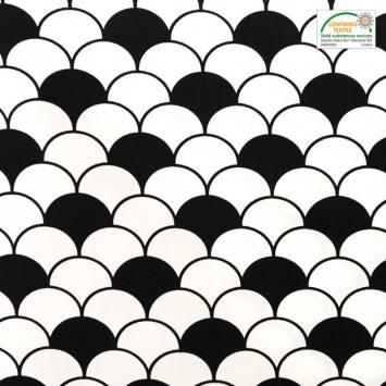 Popeline de coton blanche motif écailles