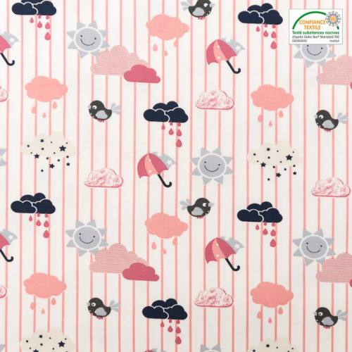 Jersey rose motif météo et rayures
