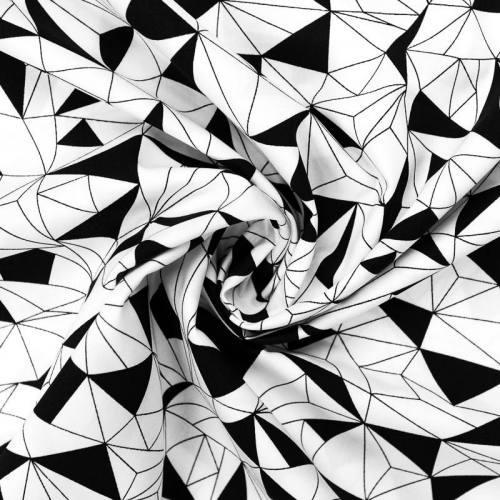 Popeline de coton blanche motif triangle géométrique