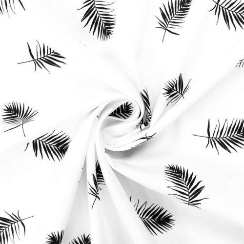 Popeline de coton blanche motif brindille