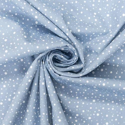 Popeline de coton bleu ciel motif rond blanc