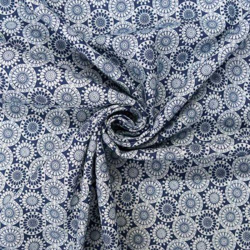 Tissu jean bleu foncé motif rosace