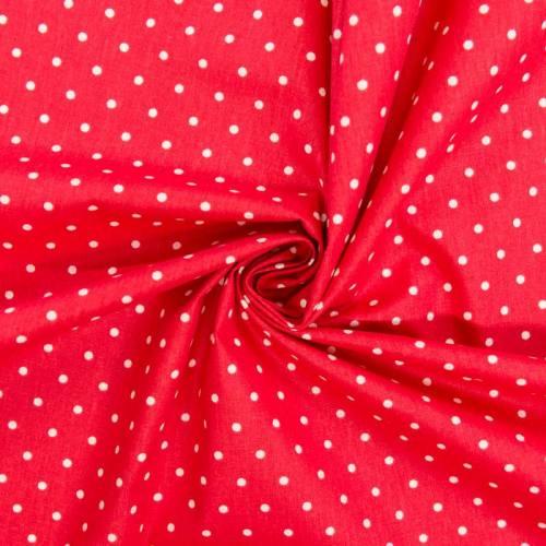 Coton cretonne rouge pois blanc