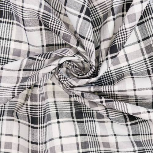Coton cretonne imprimé tartan noir et blanc