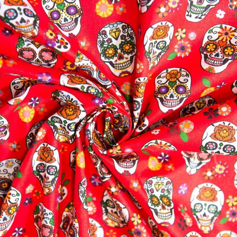 Coton rouge imprimé calavera multicolore