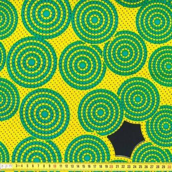 Wax - Tissu africain spirale jaune et verte 233
