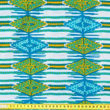 Wax - Tissu africain bleu et ocre 230