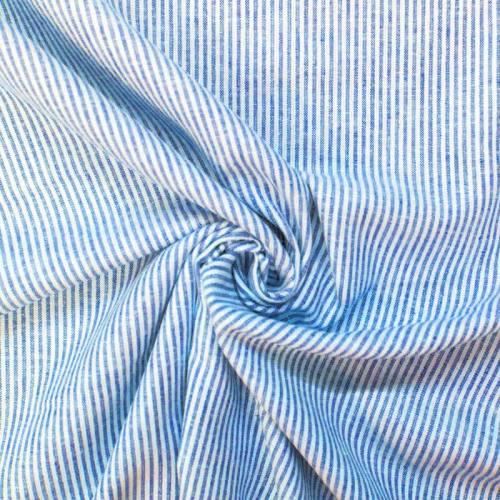 Lin viscose à rayures écrues et bleues