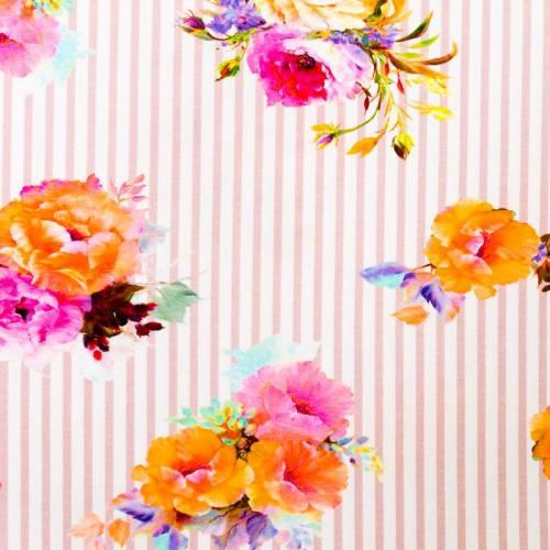 Jersey blanc motif rayures roses et fleurs