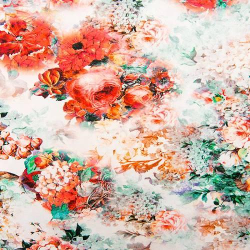 Jersey blanc motif fleurs et brume