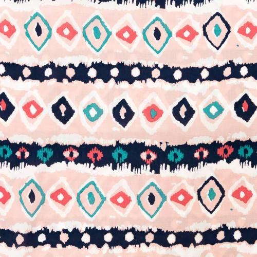 Tissu viscose rose motif ethnique
