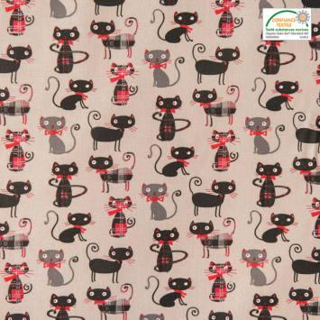 Coton grège imprimé chat chic