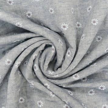 Coton aspect lin bleu motif fleurs
