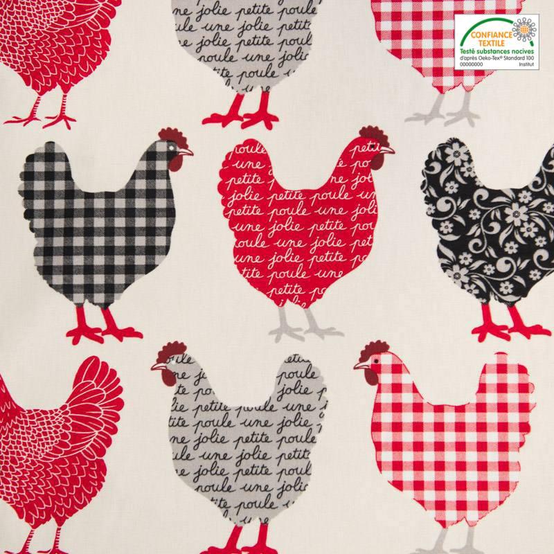 Coton écru imprimé poulette