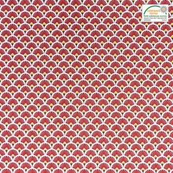 Coton imprimé éventail rouge cerise et ocre
