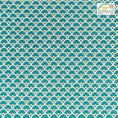 Coton imprimé éventail émeraude et ocre