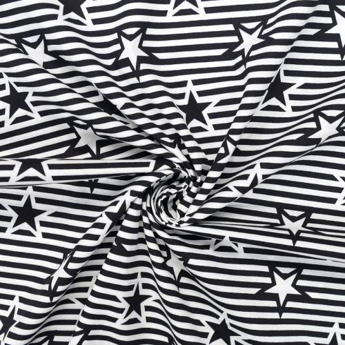 Popeline de coton grandes rayures noires et blanches motif étoile