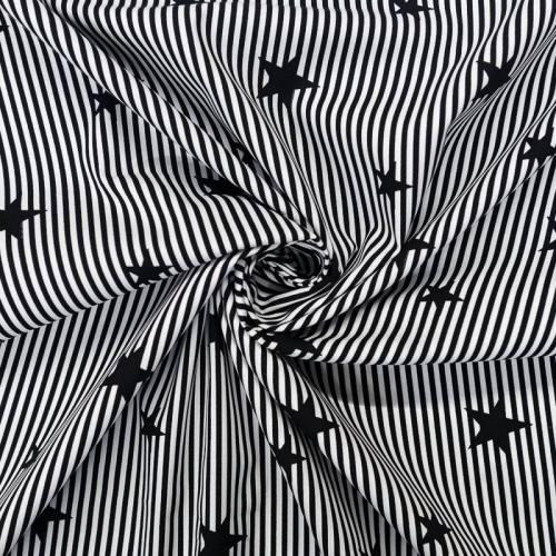 Popeline de coton rayée noire et blanche motif étoile