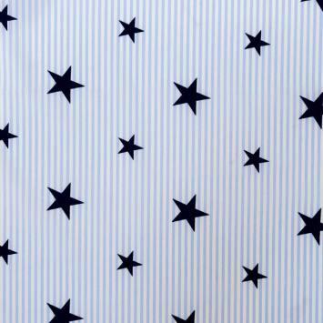 Popeline de coton rayée bleue et blanche motif étoile