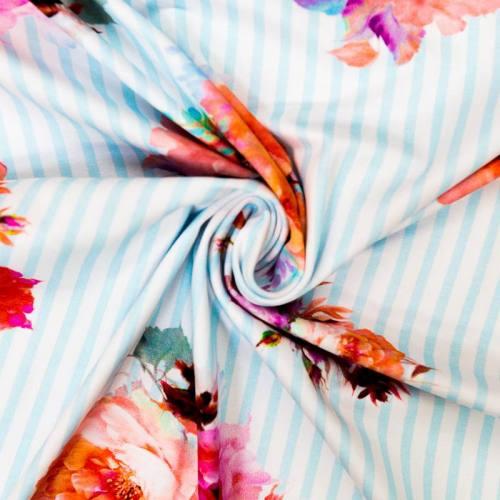 Jersey blanc motif rayures bleu ciel et fleurs