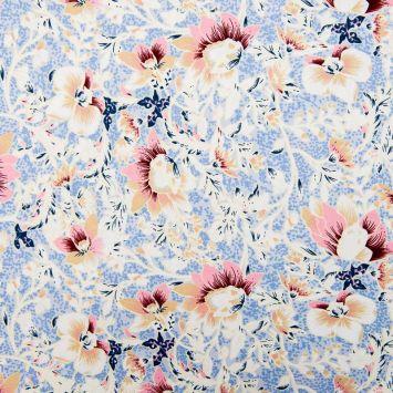 Tissu viscose stretch bleu clair motif orchidée chair
