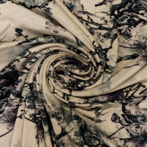 Tissu viscose stretch beige motif branche fleurie