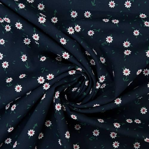 Voile de coton bleu marine motif fleur blanche