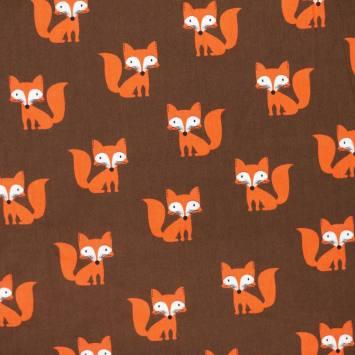 Coton marron motif renard roux
