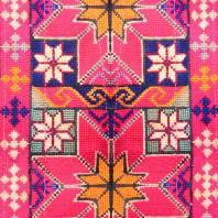 Toile coton grande largeur qualité supérieure rose motif géométrique
